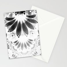 Silver Shikoba - Beautiful Black on White Fractal Paisley Forming Feathered Wings Stationery Cards