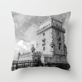 Belem Tower Black white photo Throw Pillow