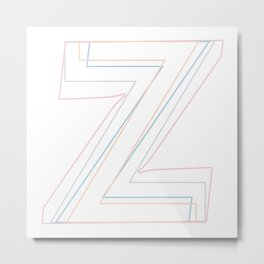 Intertwined Strength and Elegance of the Letter Z Metal Print