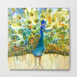 Peacock Pout, painting Metal Print