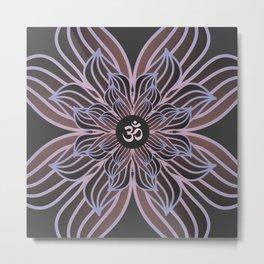 Spiritual Art, Om Symbol, Pink and Purple Mandala, Yoga Gift Metal Print