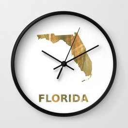Florida map outline Brown green colored watercolor pattern Wall Clock