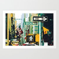 broadway Art Prints featuring Broadway by shaymultimedia