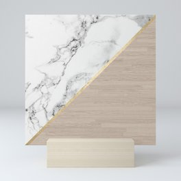 Modern white marble gold stripe wood color block Mini Art Print