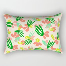 Henri's Garden in peach // tropical flora pattern Rectangular Pillow