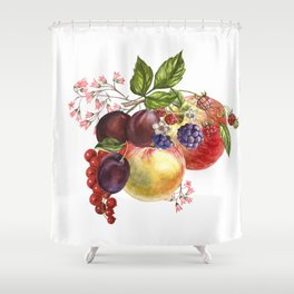 Composition of realistic fruits on a white background in vintage style. Apples, raspberries, plums, Shower Curtain