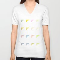 guns V-neck T-shirts featuring Guns by fyyff