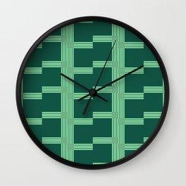 Framed in Green pattern Wall Clock