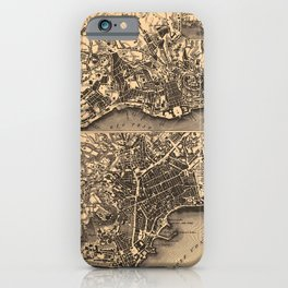 Iconographic Encyclopedia of Science, Literature and Art (1851) - Plans of Lisbon and Naples iPhone Case