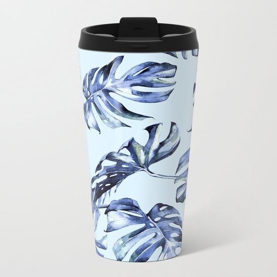 Tropical Palm Leaves Blue Metal Travel Mug