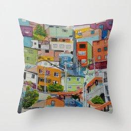 Casas de colores. Medellín Throw Pillow