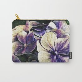 Hortensia flowers in vintage grunge watercoloring style Carry-All Pouch
