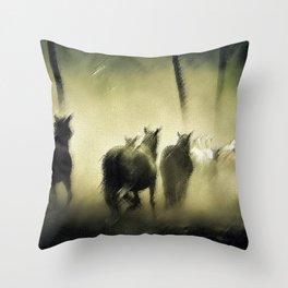 Wild Horses Night Ride Through New England Wilderness Landscape by Jeanpaul Ferro Throw Pillow