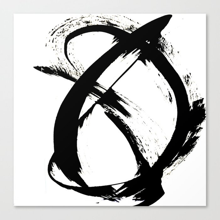 Brushstroke [7]: a minimal, abstract piece in black and white Leinwanddruck