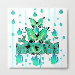 AQUA RAIN, AQUA BUTTERFLIES ABSTRACT ART Metal Print
