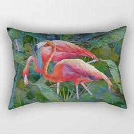 tropical pattern with flamingos Rectangular Pillow