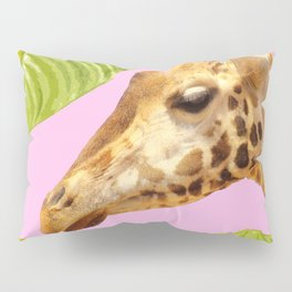 Giraffe with green leaves on a pink background Pillow Sham