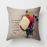 jane austen Throw Pillows featuring Jane Austen Daughter Emma by KimberosePhotography