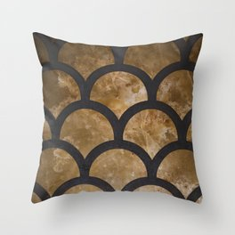 Scallops in Gold Throw Pillow