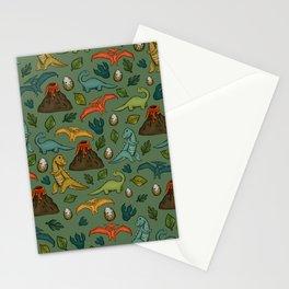 Dinosaurs, Jurassic Art, Volcanos and T-Rex, Dino Print Stationery Cards