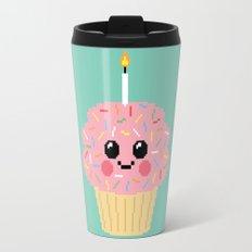 Happy Pixel Cupcake Travel Mug