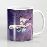 snowboarding Mugs featuring Snowboarding #2 by Bruce Stanfield