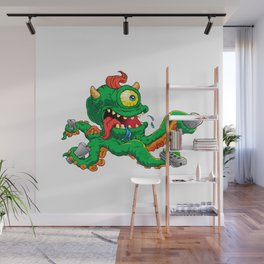 monster cartoon with control Wall Mural