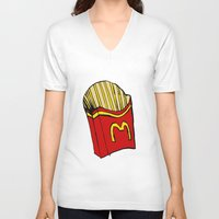 fries V-neck T-shirts featuring Large Fries by Daniel Emmerig