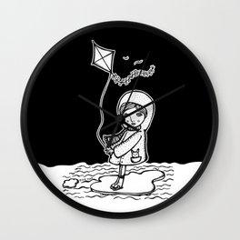 surfing girl on ice floe Wall Clock