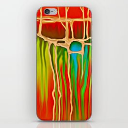 Distant Trees in Orange and Lime iPhone Skin