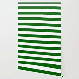 Emerald green - solid color - white stripes pattern Wallpaper
