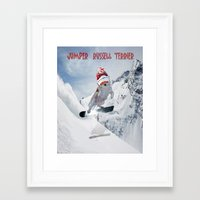 snowboarding Framed Art Prints featuring Snowboarding by Dymond Speers
