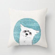 Waiting fox Throw Pillow
