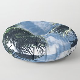 Island Palm Tree Leaves Reaching Across Tropical Sky Floor Pillow