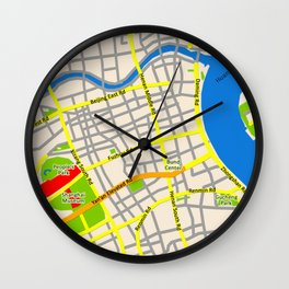 Shanghai Map Design Wall Clock