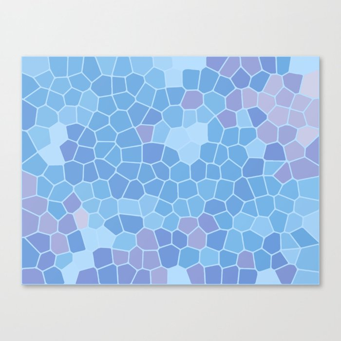 Ice Blue Abstract Blocks Tile Pattern Background Canvas Print