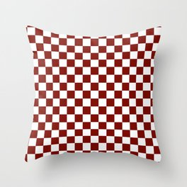 Vintage New England Shaker Barn Red and White Milk Paint Jumbo Square Checker Pattern Throw Pillow