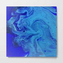 All the Blues, Abstract Fluid Acrylic Art Print Metal Print