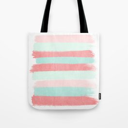 Painterly Stripes abstract trendy colors gender neutral seaside coral tropical minimal Tote Bag