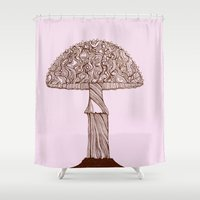 mushroom Shower Curtains featuring Mushroom by Rahmah J Raines
