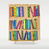 library Shower Curtains featuring The library by andy_panda_