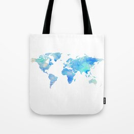 Blue Watercolor World Map Tote Bag