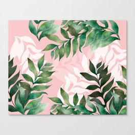 Dreamy Leaves in Pink and Green Canvas Print