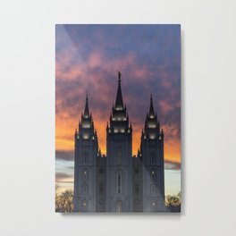 LDS Salt Lake Temple Square Sunset Metal Print
