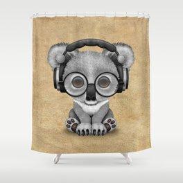 Cute Baby Koala Bear Dj Wearing Headphones Shower Curtain