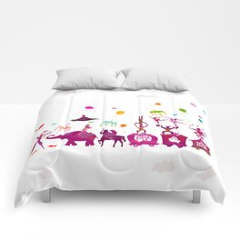 colorful circus carnival traveling in one row on white background Comforters