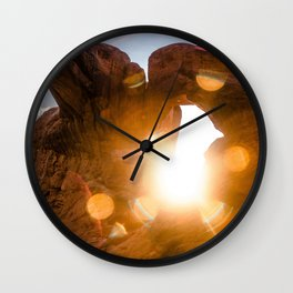 Double Arch Sunset Wall Clock