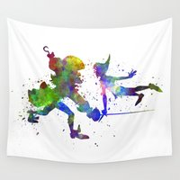 hook Wall Tapestries featuring Peter Pan and Captain Hook in watercolor by Paulrommer