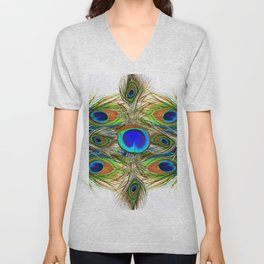 AWESOME BLUE-GREEN PEACOCK FEATHERS ART Unisex V-Neck