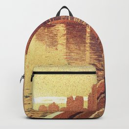 Watercolor painting of Vancouver skyscrapers illuminated at dawn- British Columbia, Canada Backpack